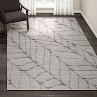 "Porch & Den Roebling Grey Abstract Leaves Rug - 7'6"" x 9'6"""