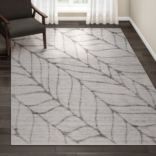 Porch & Den Williamsburg Roebling Grey Abstract Leaves Rug - 7'6 x 9'6