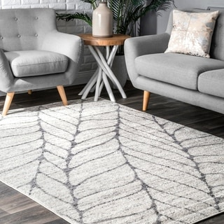 Porch & Den Williamsburg Roebling Grey Abstract Leaves Rug (8'6 x 11'6)