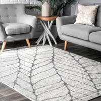 Porch & Den Williamsburg Roebling Grey Abstract Leaves Rug (8'6 x 11'6) - 8'6 x 11'6