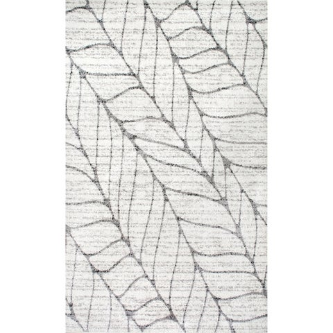 Porch & Den Roebling Grey Abstract Leaves Area Rug