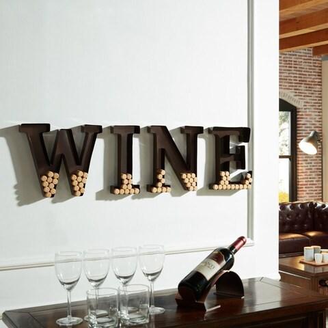 Porch & Den Montclair Godfrey Metal Wall Mount 'Wine' Letters Cork Holder