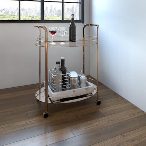 Strick & Bolton Saar Champagne 2-shelf Serving Cart