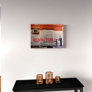 Porch & Den Banksy 'Ghetto For Life' Floating Brushed Aluminum Art