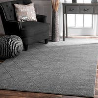Porch & Den Williamsburg Havemeyer Handmade Trellis Grey Rug (7'6 x 9'6)