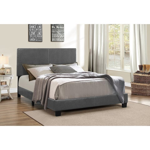 DG Casa Addison Queen Bed Grey Faux Leather