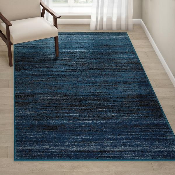 """Porch & Den Alford Blue/ Black Indoor Area Rug - 5'2"""" x 7'2"""""""
