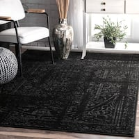 Porch & Den Williamsburg Montrose Vintage Distressed Ring Black Rug - 5' x 8'