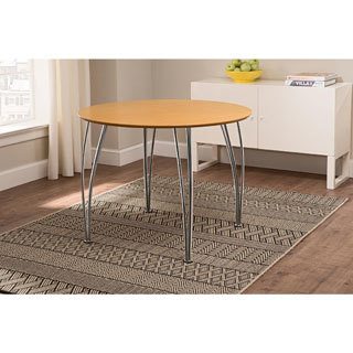 Porch & Den Wicker Park Haddon Round Chrome-leg Dining Table