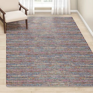 Porch & Den Williamsburg Nassau Handmade Pink/ Multi-color Braided Cotton Rug - 7'6 x 9'6