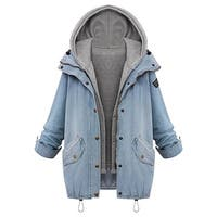 Cupshe Women's Two Piece Vest Denim Hooded Drawstring Jacket Coat Boyfriend Trend Loose Hoodie