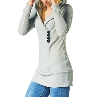 Cupshe Women's Long Sleeve Shawl Collar Hooded Sweatshirt, Grey