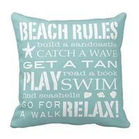 Cotton Linen Pillow Case Beach Rules 18 x 18