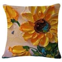 Cotton Linen Pillow Case Oil Painting Sunflowers 18 x 18