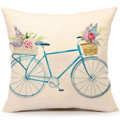 Cotton Linen Pillow Case Spring Bicycle Flower 18 x 18