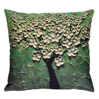 Cotton Linen Pillow Case Green Jasmine Tree 18 x 18