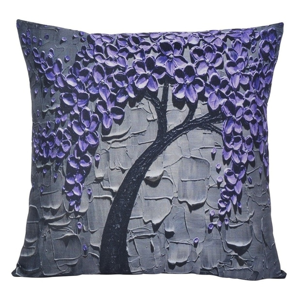 Shop Cotton Linen Pillow Case Purple Flower Jasmine Tree