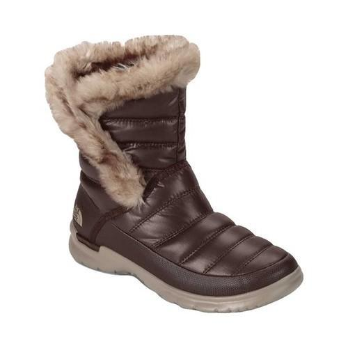 Women's The North Face Thermoball Microbaffle Bootie II Shiny Coffee Bean Brown/Dune Beige
