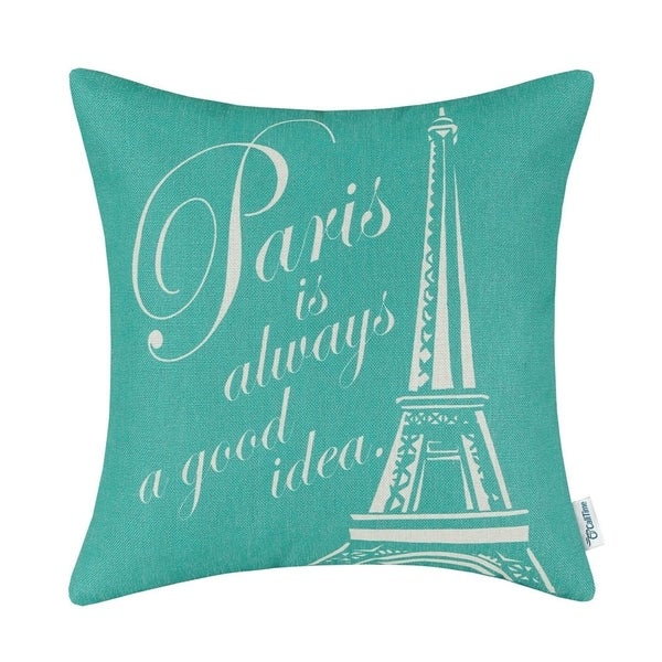 Shop Cotton Linen Pillow Case Paris Is Always A Good Idea Teal 18 X
