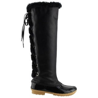 NATURE BREEZE Women's Warm Lace Up Lug Sole Knee High Duck Snow Boots