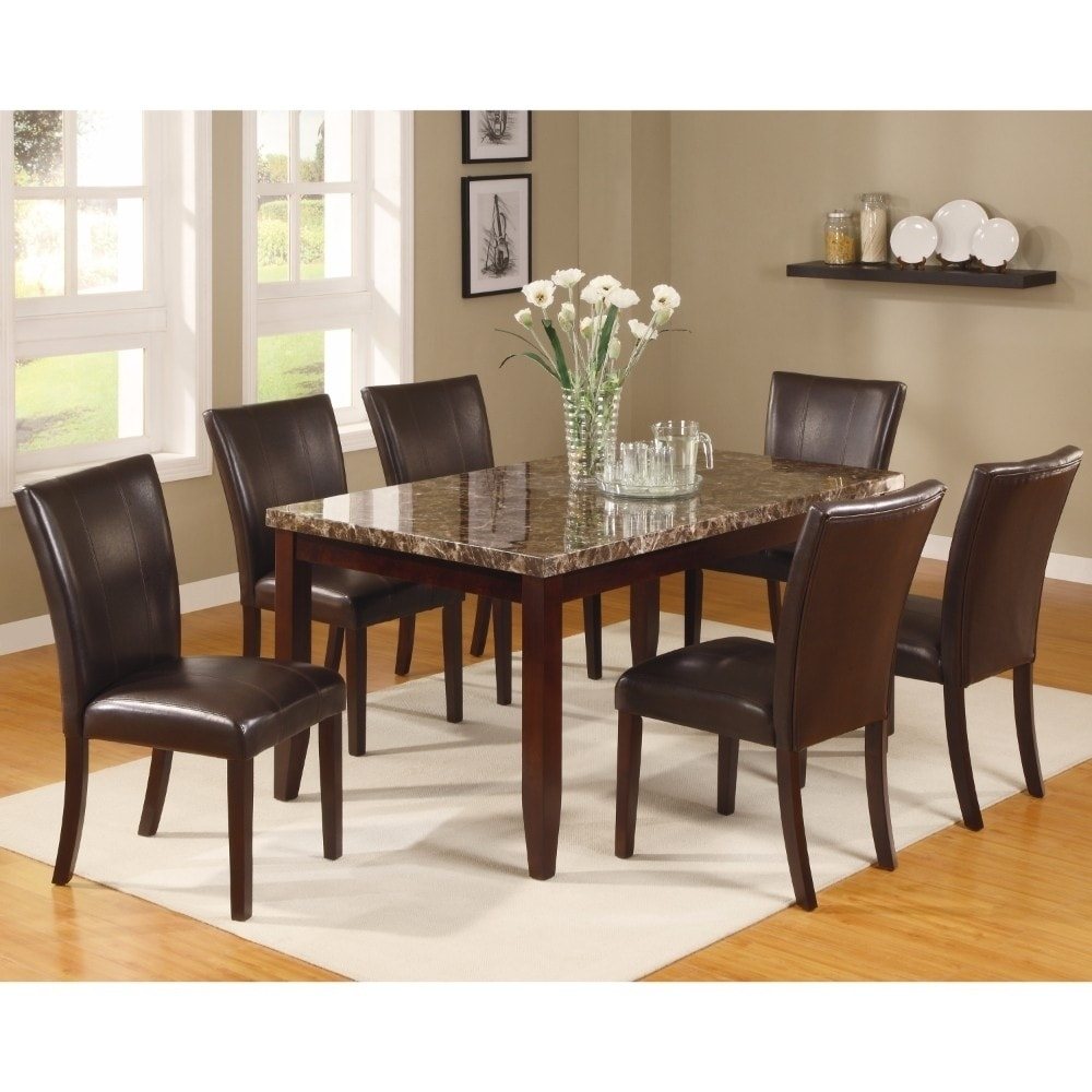 Gracious Dining Table With Marble Top Brown Overstock 19391031