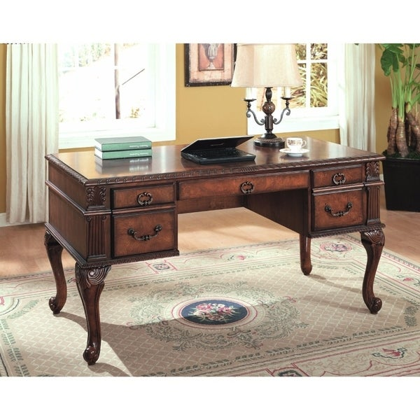 Shop Executive Home Office Desk Cherry Brown Free Shipping Today