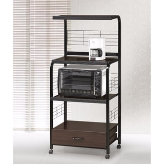 Wood & Metal Microwave Cart On Casters, Espresso/Black