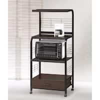 Wood & Metal Microwave Cart On Casters, Espresso/Black