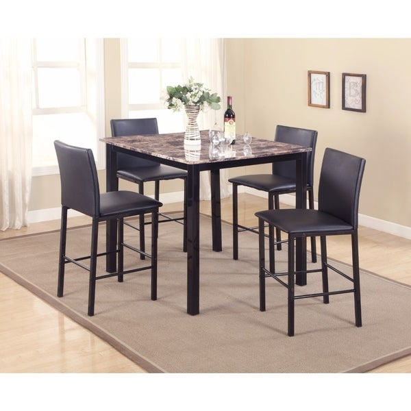 5-Piece Counter Height Dinette, Black/Brown