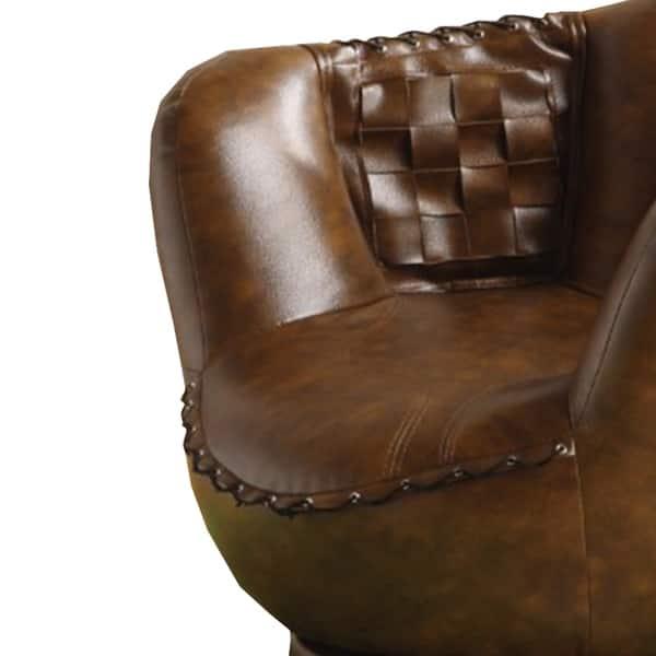 Pleasing Shop Baseball Glove Chair Ottoman Brown White Free Inzonedesignstudio Interior Chair Design Inzonedesignstudiocom