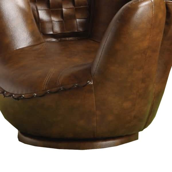 Miraculous Shop Baseball Glove Chair Ottoman Brown White Free Inzonedesignstudio Interior Chair Design Inzonedesignstudiocom