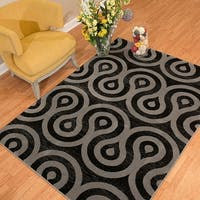 """Westfield Home Rize Cavern Black Area Rug - 7'10"""" x 10'6"""""""