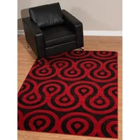 """Westfield Home Rize Cavern Red Area Rug - 7'10"""" x 10'6"""""""