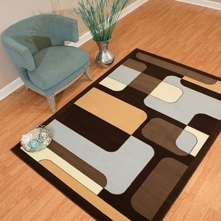 Westfield Home Rize Hutch Blue and Brown Contemporary Geometric Area Rug (5' x 7')