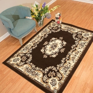 Westfield Home Rize Galleta Dark Brown and Cream Traditional Area Rug (5' x 7')