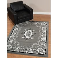 Westfield Home Rize Galleta French Aubusson Grey/ White Area Rug - 5' x 7'