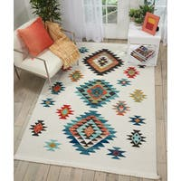 Nourison Tribal Decor Collection White Diamond Medallion Area Rug