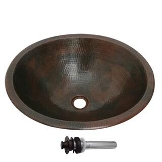 Unikwities 18.5 X 16 X 5.75 inch Oval Bronzed Copper Sink with Drain