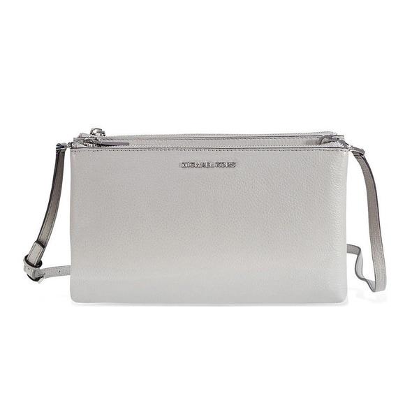 Shop Michael Kors Adele Pearl Grey Double Zip Crossbody Handbag ... 76efcbecf8f3