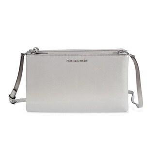 Michael Kors Adele Pearl Grey Double Zip Crossbody Handbag