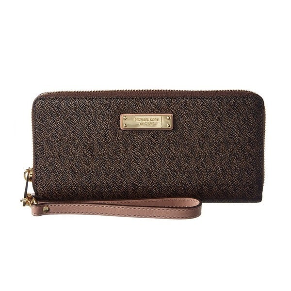 Michael Kors Womens Jet Set Signature Travel Continental Brown/Fawn Wallet