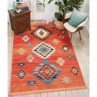 Nourison Tribal Decor Red/Multicolored Area Rug - 6'7 x 9'7