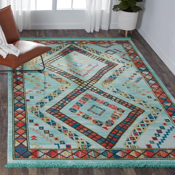 Teal Area Rug Turquoise Rug Soft Rug Bathroom By: Shop Nourison Teal/Orange Tribal Area Rug