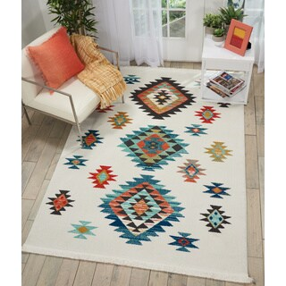 Nourison Tribal Decor White/Multi Medallion Area Rug - 5'3 x 7'6