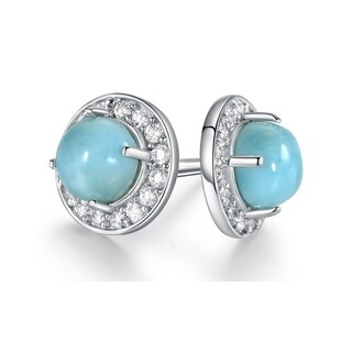Genuine Larimar Stud Earrings