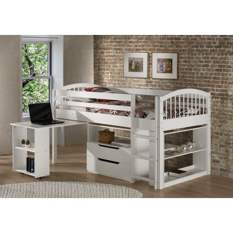 Addison Junior Low Loft Bed with Storage Drawers, Desk and Bookshelf, Solid Wood