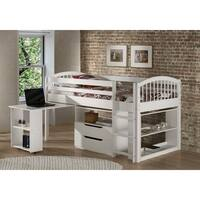 Addison Junior Low Loft Bed with Storage Drawers, Desk and Bookshelf