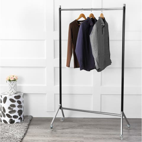 "happimess Sophia Single-Bar 70.8"" Garment Rack, Black/Chrome"