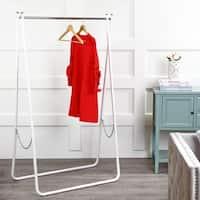 "happimess Noah Folding 63.7""  Metal Garment Rack, White/Chrome"