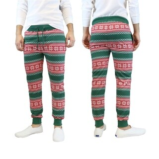 Galaxy By Harvic Men's Green Snowflake Printed Christmas Ugly Holiday Joggers